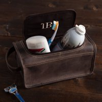 Personalized Dark Brown Leather Toiletry Bag
