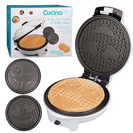 Smiley Face Charts - Emoji Waffler & Pancake Maker w Interchangeable Plates - Choose either Smiley Face Waffles OR Pan Cakes - Non-stick Electric Griddle Iron