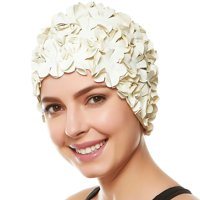 Beemo Floral Petal Swim Cap for Women – Retro Style Vintage Bathing Cap Swimming Hat for Long and Short Hair