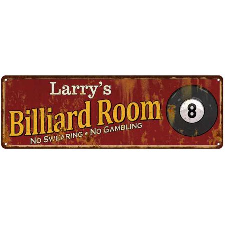 Larry's Billiard Room Red Chic Sign Home Man Cave Décor Gift 6x18 G6180008196 ()