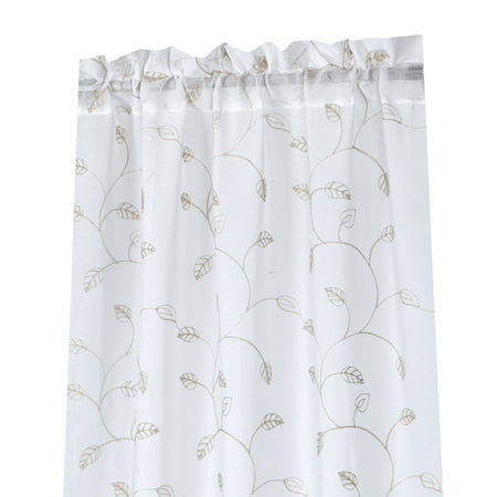 2 Pack, Regal Home Collections Oakville Embroidered Sheer Rod Pocket Curtain Panel Pair 38