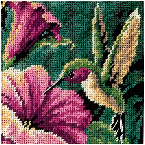 "Dimensions ""Hummingbird Drama"" Mini Needlepoint Kit, 5"" x 5"", Stitched in Thread"