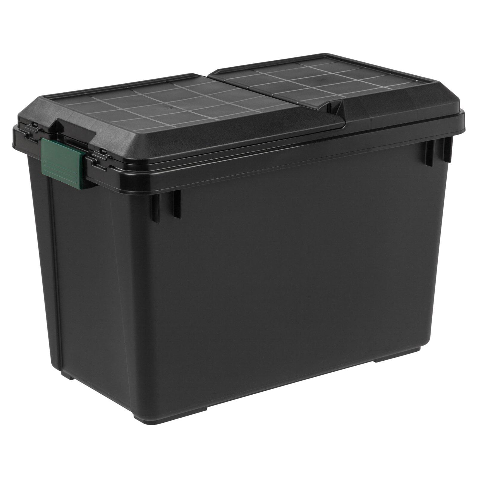 Iris Remington 102 Qt. Store-It-All Plastic Storage Tote with Compartment Lid, Black