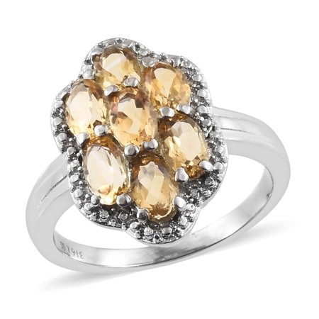 Stainless Steel Oval Citrine Statement Ring for Women Cttw 2.2 Jewelry Gift Created Citrine Stainless Steel Ring