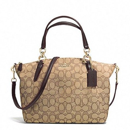 NEW COACH (F27582) SIGNATURE KHAKI BROWN SMALL KELSEY SATCHEL BAG (Best Place To Sell Coach Purses)