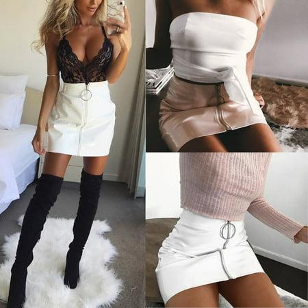 - Cool Women PU Leather High Waist Mini Short Skirt Stretch Party Sexy