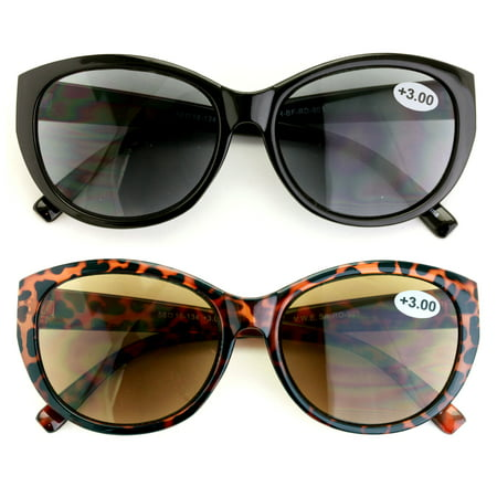 V.W.E. Vintage Cat Eye Outdoor Women's Reader Sunglasses, Black/Brown, 2 Pair