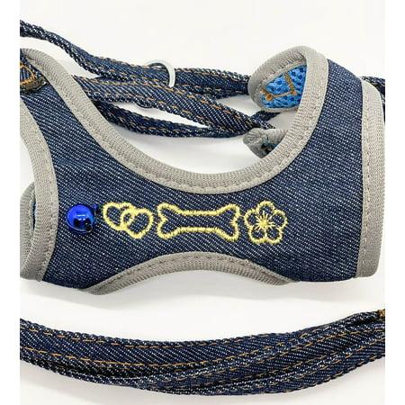 cute bone design denim small pet dog cat rope collar leash mesh harness and bell