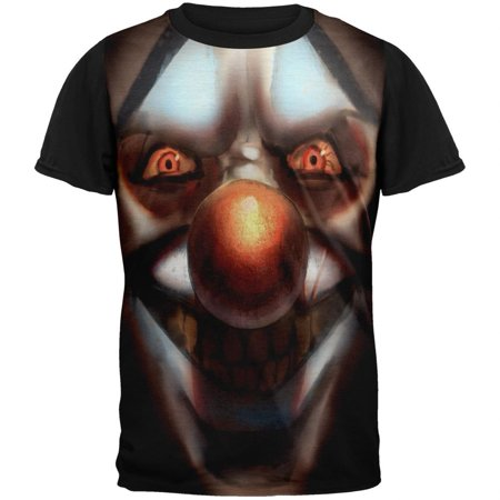 Halloween Insane Clown Adult Black Back T-Shirt - Insane Asylum Halloween Party