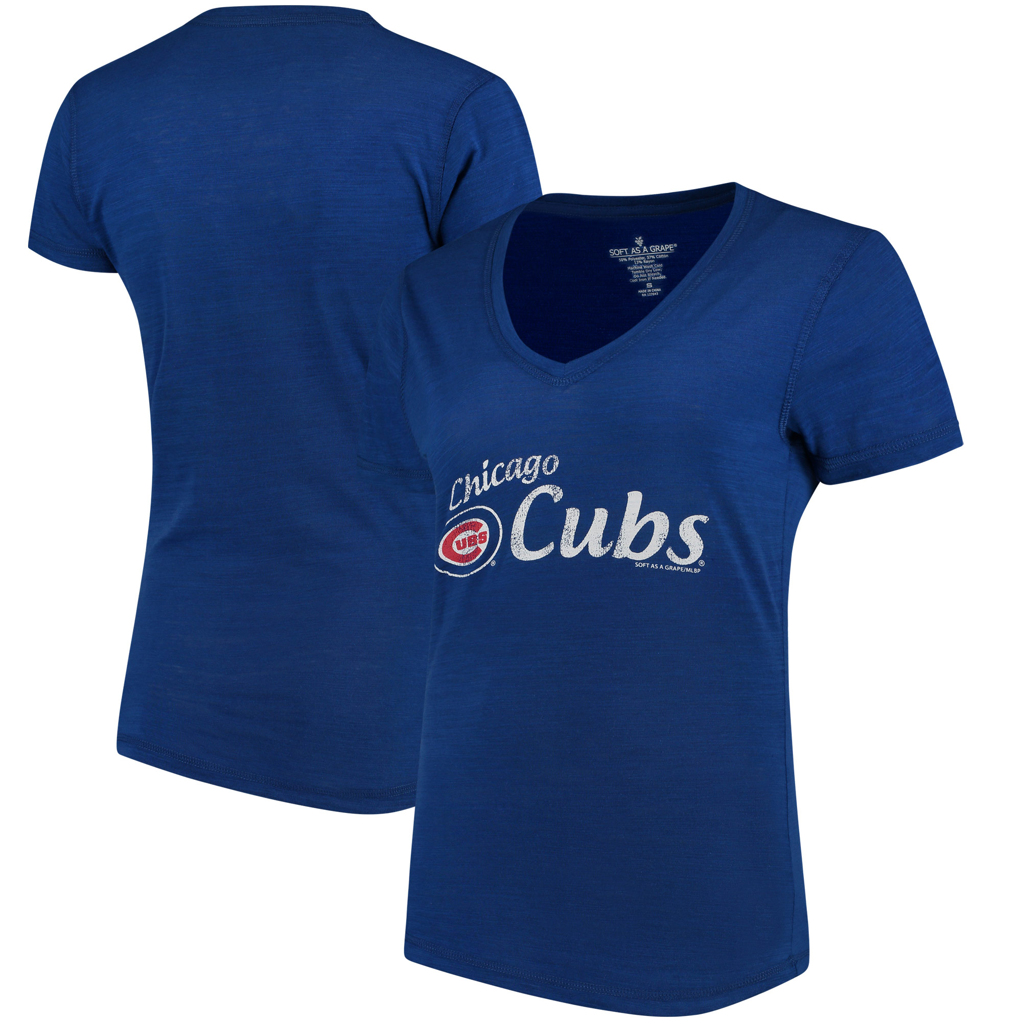Chicago Cubs Soft As A Grape Women's Double Steal Tri-Blend V-Neck T-Shirt - Royal
