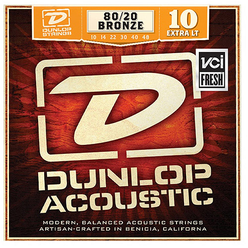 Dunlop DAB1048 80 20 Bronze Extra Light Acoustic 6-String Guitar Set, .010-.048 by Dunlop