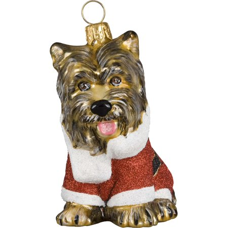 Yorkshire Terrier Yorkie Santa Paws Dog Polish Glass Christmas Tree Ornament New