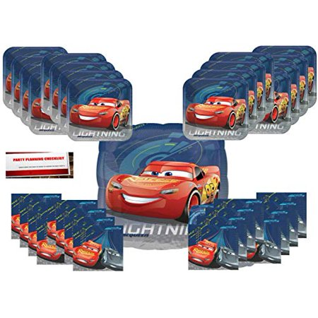 Cars 3 Birthday Party Supplies Bundle Pack for 16 Plus 17 inch Cars Balloon (Plus Party Planning Checklist) - Car Birthday Supplies