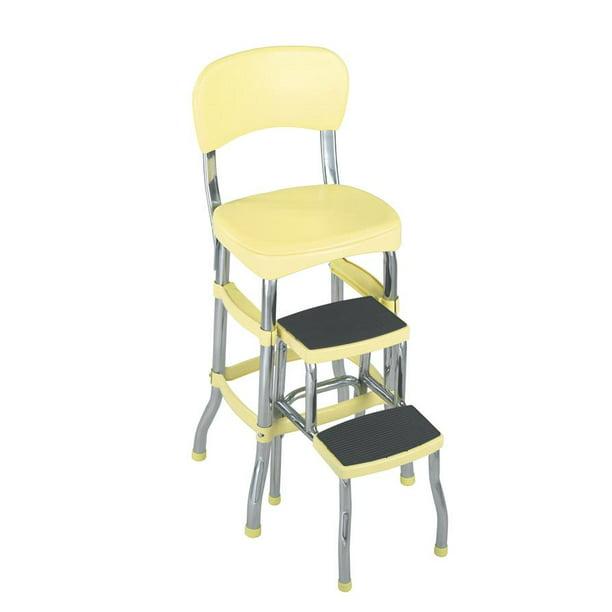 Cosco Stylaire Retro Chair Step Stool With Sliding Steps Yellow Walmart Com Walmart Com