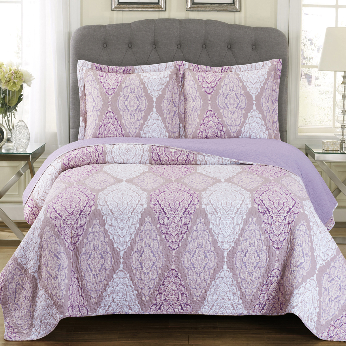 Jewel Coverlet Patchwork Print Wrinkle Free Set Oversized Reversible Quilt Set by Royal Plaza Textiles, Inc.