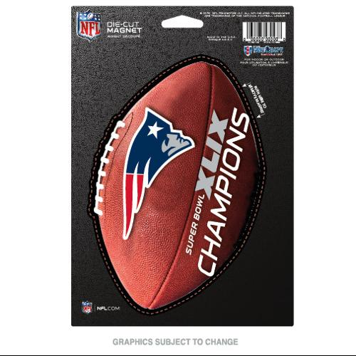 New England Patriots Official NFL 6 inch x 9 inch  Super Bowl 49 Champions Car Magnet by Wincraft