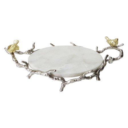 A & B Home Marble Round Tray with Branch Design Handles and Stand