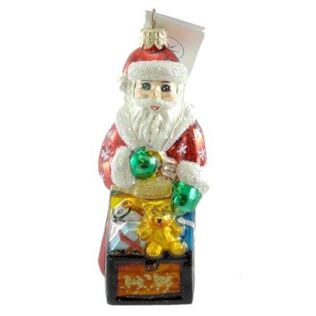 Christopher Radko TINY TOY CHEST Glass Ornament Santa Christmas Teddy