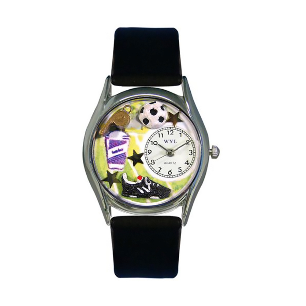 Whimsical Soccer Black Leather And Silvertone Watch
