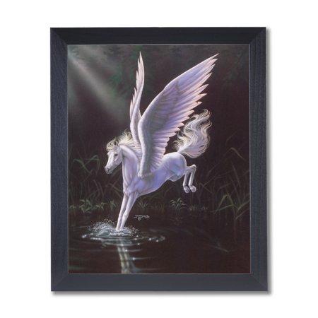 Magical Pegasus Kids Room Fairy Fantasy Wall Picture Black Framed Art Print
