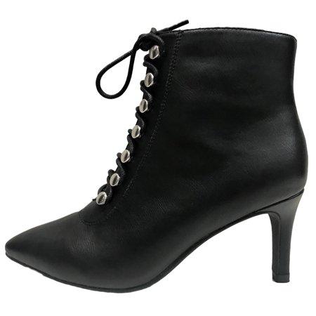 9b6473b0445e7 Anne Michelle - Longing-12s Women Pointed Toe Lace Up Kitten Low Heel  Booties Boot Black - Walmart.com