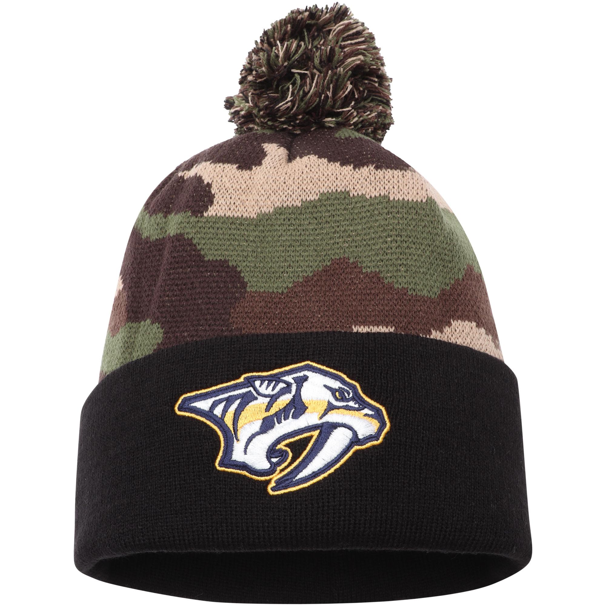 Nashville Predators American Needle Cuffed Pom Knit Hat - Camo - OSFA