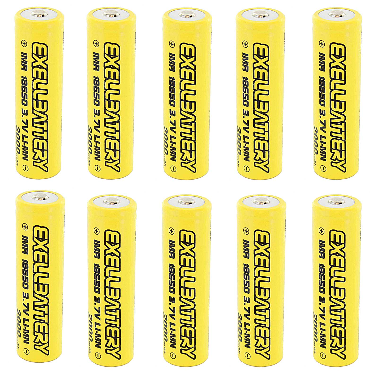 10x IMR 18650 3.7V LiMN 2000mAh Rechargeable Button Top B...