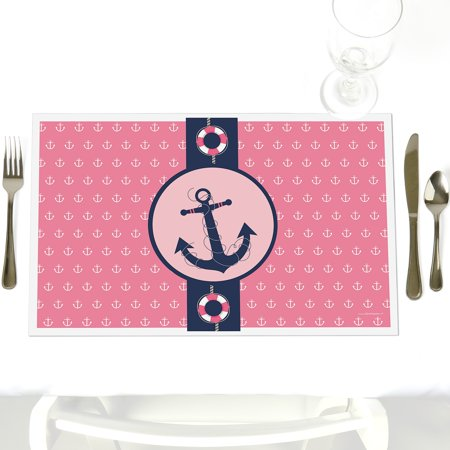 Ahoy - Nautical Girl - Party Table Decorations - Baby Shower or Birthday Party Placemats - Set of 12 (Ahoy Baby Shower Decorations)