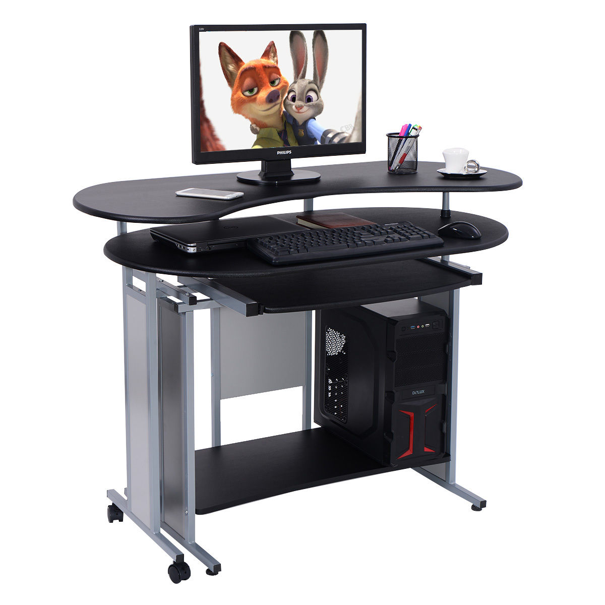costway expandable lshaped computer desk pc table corner workstation home office