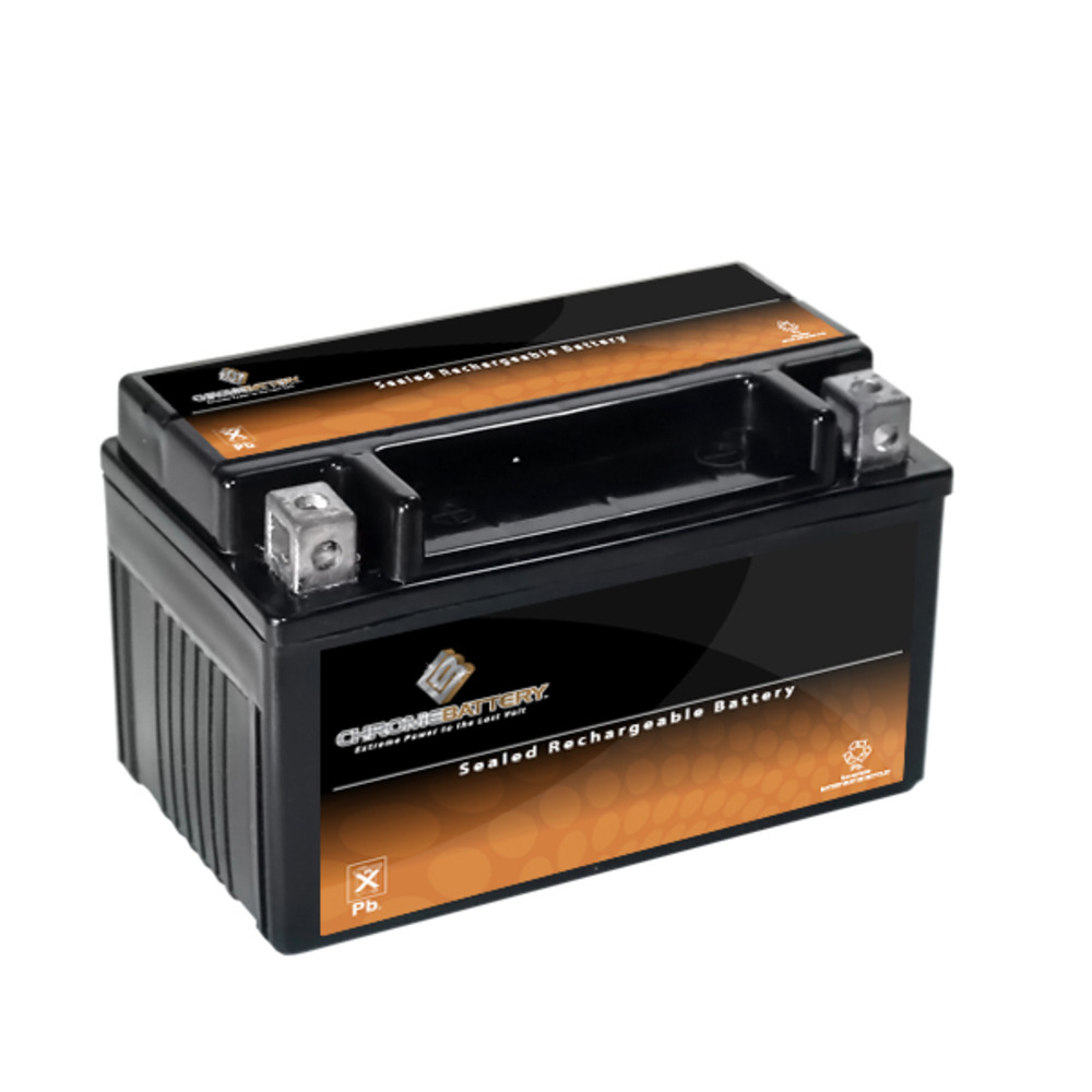 Chrome Battery M00006-10000 YTX7A-BS High Performance Maintenance Free Sealed AGM Motorcycle Battery
