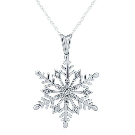 Diamond Snow Flake Pendant in Sterling Silver (.10 CT. T.W.)