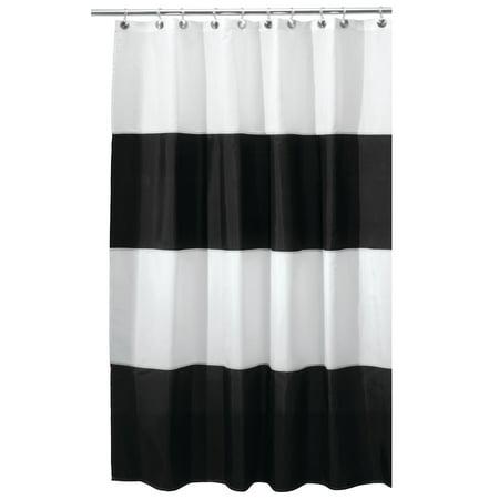 InterDesign Zeno Fabric Shower Curtain Standard 72 X 72 Black