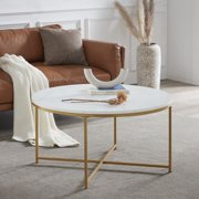 BELLEZE Yanet Modern Round Coffee Table Accent Table Home Decor, Marble/Gold