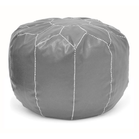 Urban Shop Round Contemporary Faux Leather Pouf, Grey