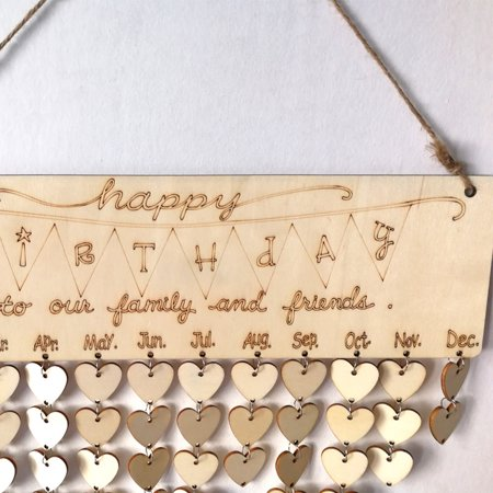 Wood Birthday Reminder Board Birch Ply Plaque Sign Family &Friends DIY - Family Birthday Sign