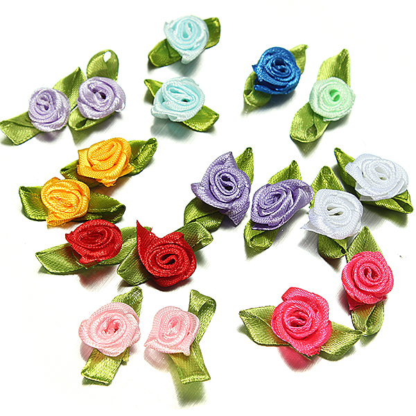 100Pcs Satin Ribbon Roses Flower Appliques Scrapbooking Sewing Craft Decor 25mm