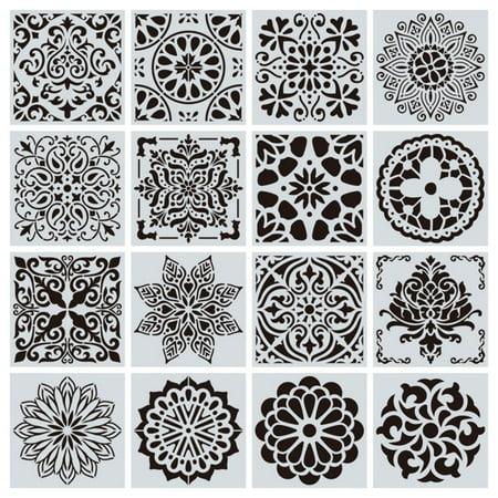 16pcs/set Reusable Stencil Cut Painting Template Floor Wall Tile Fabric Furniture Stencils Mandala Painting Stencils ()