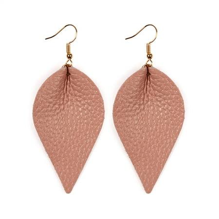 Teardrop Shape Earrings (Riah Fashion Teardrop Shape Pinched Leather Earrings )