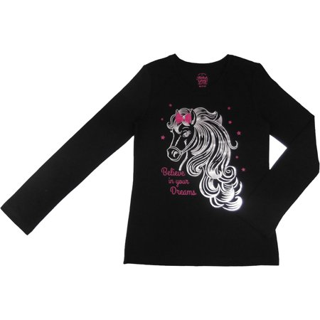 3167518d89a8 Faded Glory - Girls Unicorn Embellished Long Sleeve T-Shirt ...