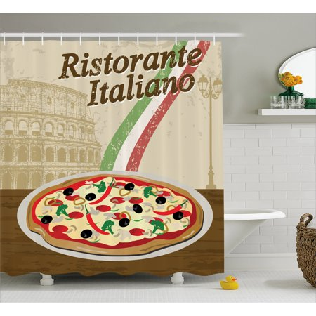Pizza Shower Curtain Ristorante Italiano Concept With Vintage Grunge Style Print And Collosseum