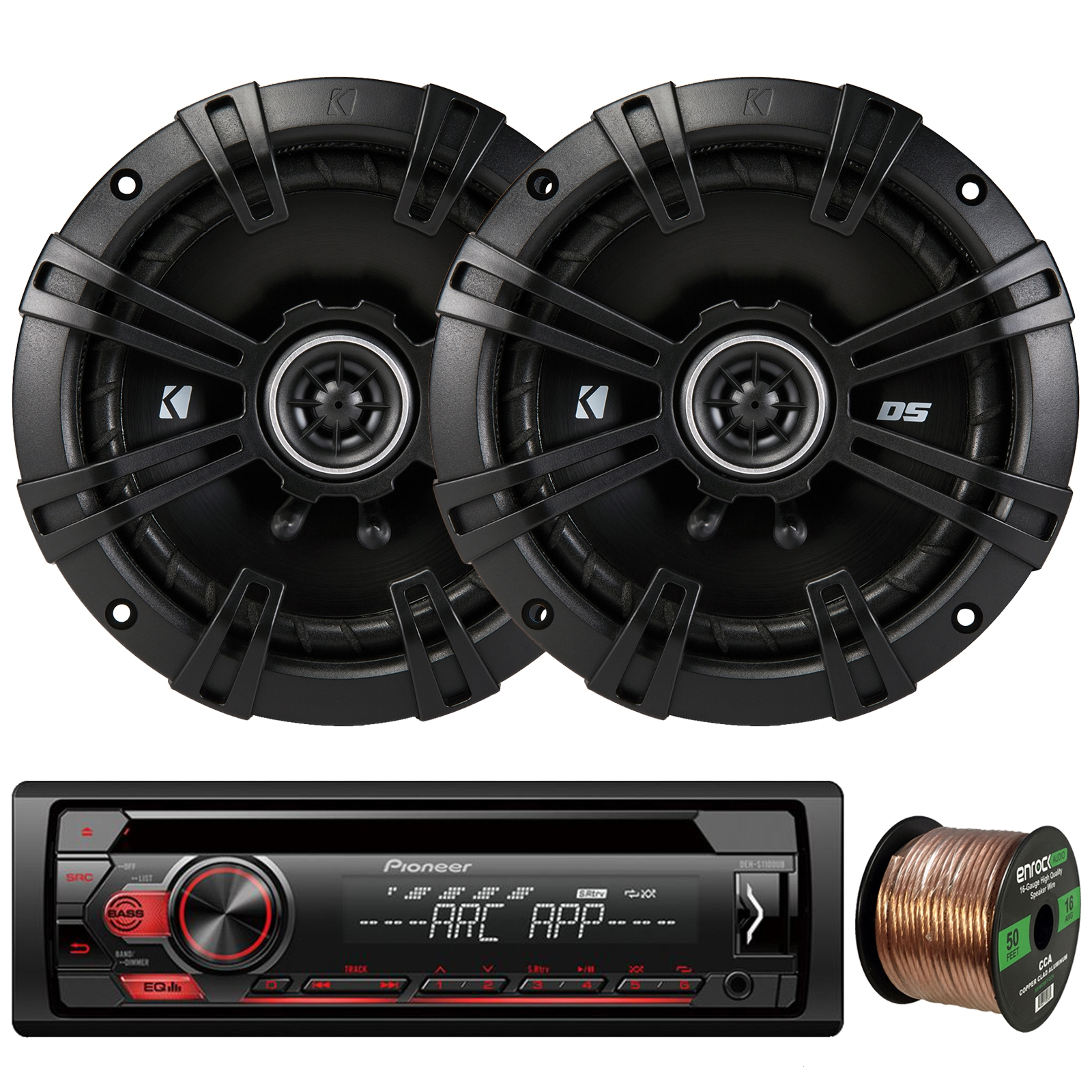 "Pioneer DEH-S1100UB Single-DIN CD Player AM/FM Car Stereo Receiver, 2 x Kicker DS-Series 43DSC6504 6.5"" 240W 2-Way 4-Ohm Car Audio Coaxial Speakers, 16-Gauge 50Ft. Speaker Wire"