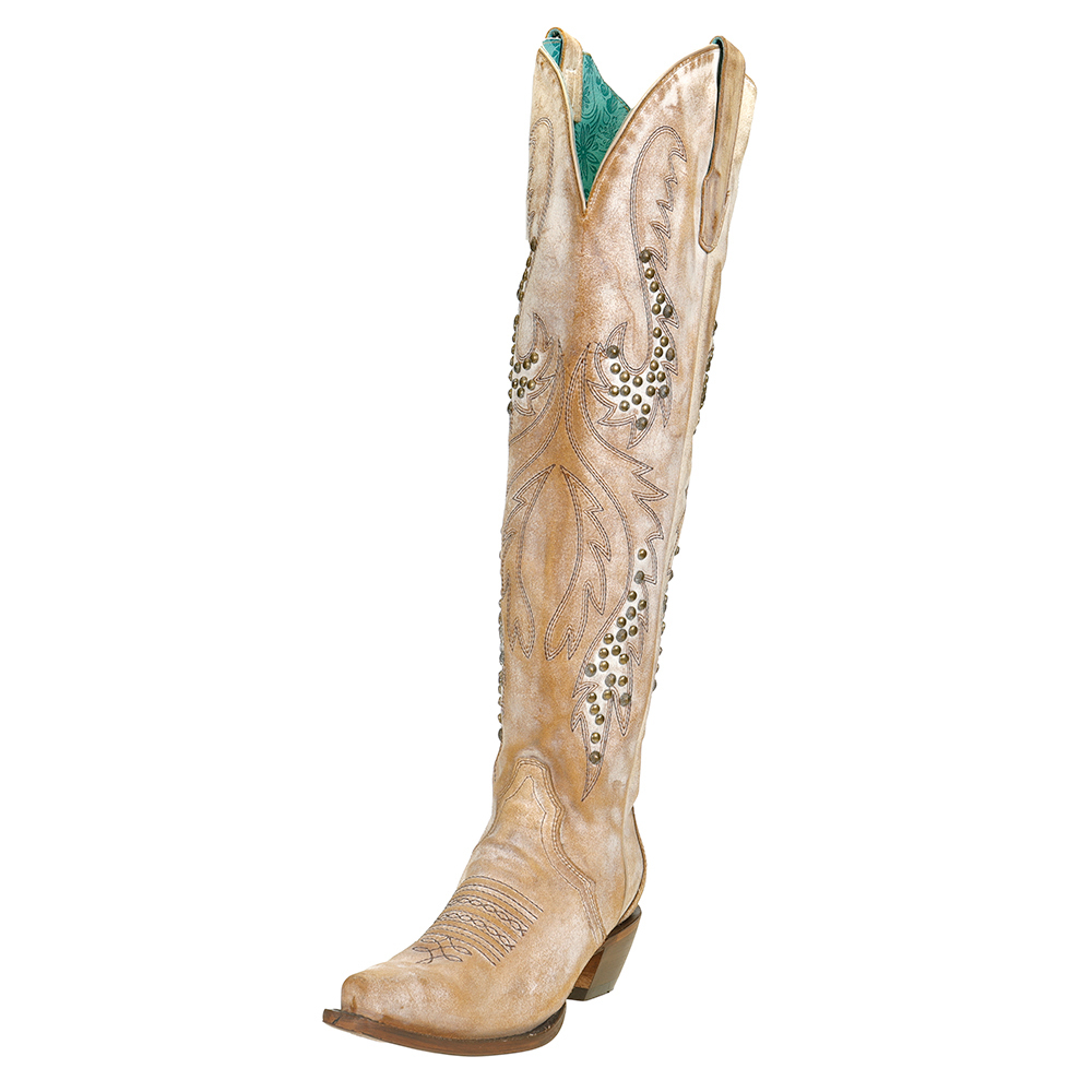 Corral Ladies Saddle Embroidery /& Studs Tall Top Boots C3543