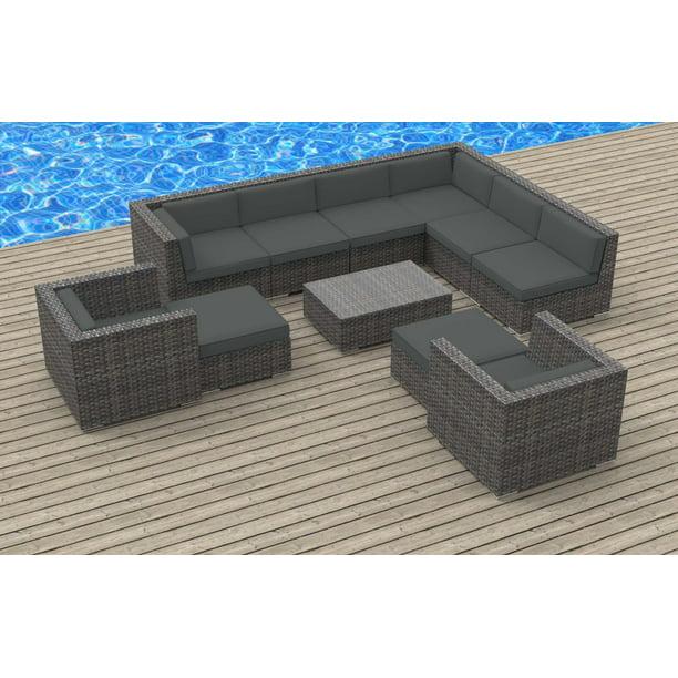 Urban Furnishing - ARUBA 11pc Modern Outdoor Wicker Patio ...