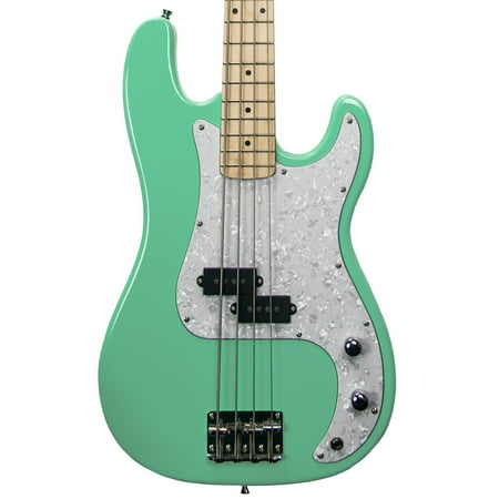 Sawtooth EP Series Electric Bass Guitar, Surf Green w/ White Pearloid (Jazz Bass Pickguard With P Bass Pickup)