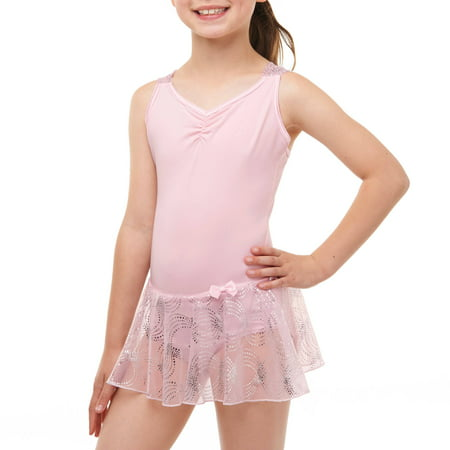 - Girls' Skirted Leotard with Criss Cross Back