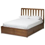 Baxton Studio Raurey Queen Spindle Storage Platform Bed in Walnut