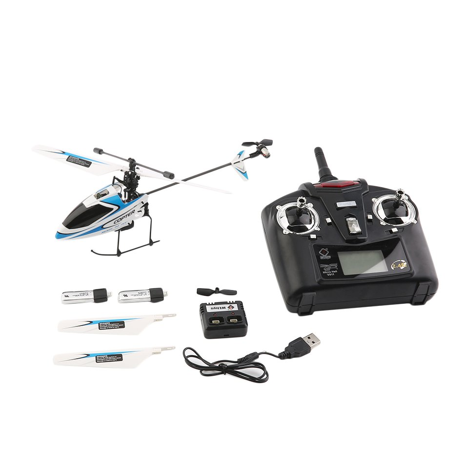 4 Ch 2.4GHz Single Blade Rechargable RC Helicopter with G...