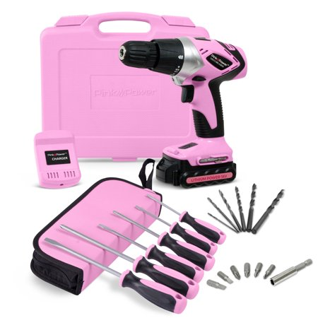 Volt Compact Lithium Ion Driver - Pink Power PP181LI Cordless 18 Volt Lithium-Ion Drill Driver Kit & 6 Piece Screwdriver Set for Women