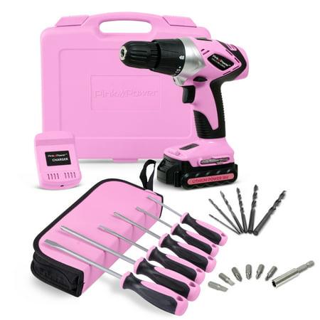 Pink Power Pp181li 18 Volt Lithium Ion Cordless Electric Drill Kit   6 Piece Screwdriver Set For Women