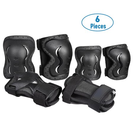 QF 6 PCS Kids Protective Gear Set Bike Knee Pads and Elbow Pads w/ Wrist Guards Children Skate Cycling Sports Knee Elbow Protective Pads Gear Set (S/Black) Softball Sliding Knee Guards